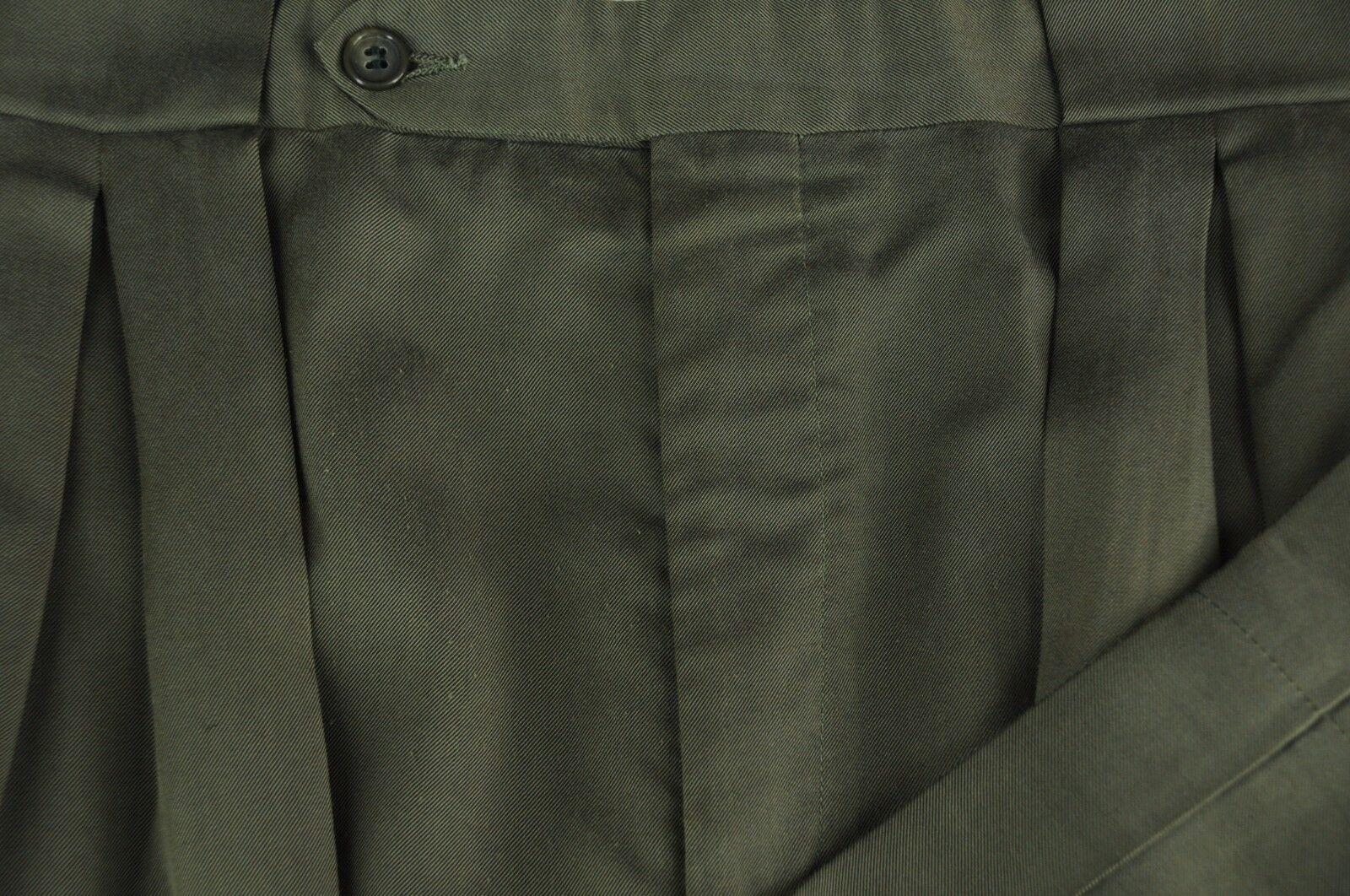 Corbin Men's Green All Season Wool Pleated Dress Pants 34 x 29