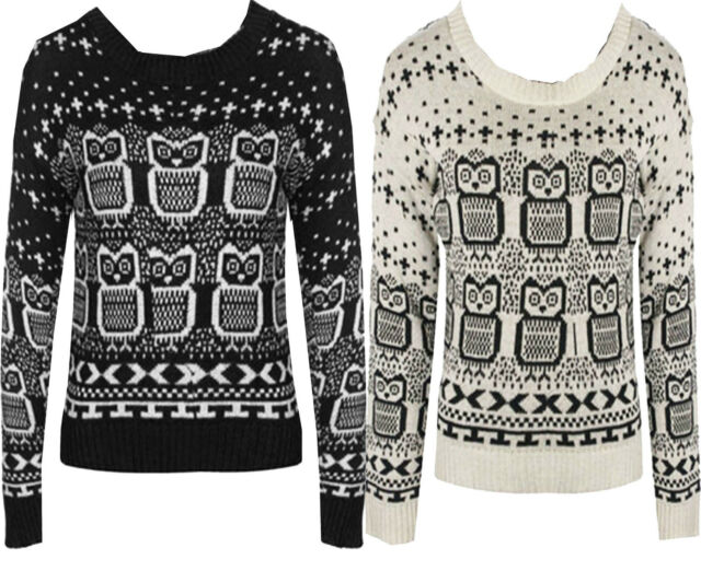 New Womens Ladies  Owl Print Knitted Long Sleeve Jumper Top S M L XL