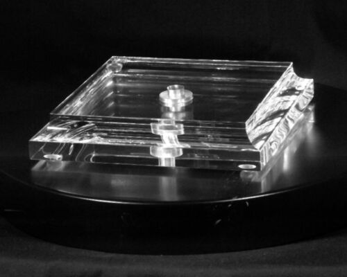 Lucite Acrylic Square Lamp Base with Straight Sides