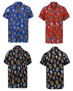 Camisa-Hawaiana-Camisa-Azucar-Calavera-Halloween-Fuerte-Para-hombre-Aloha-Mexico-Stag-Fiesta-UK