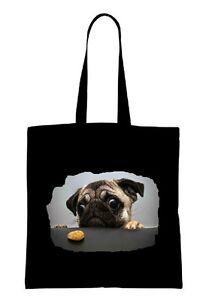 CRAZY MOPS PUG Einkaufstasche Tasche shopping bag 04 groß big schwarz black NEU