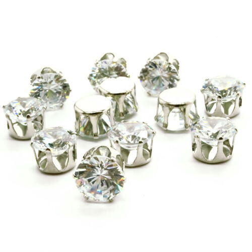 50 x Sew on Rhinestones Crystals Diamantes Gem Silver Setting Trim Embellishment