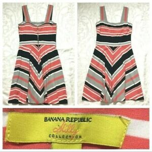 Banana-Republic-Womens-Dress-size-8-Salmon-Pink-Black-Striped-Milly-Collection