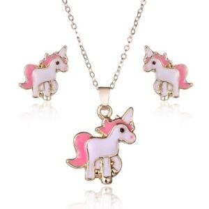Розовая лошадь Единорог ювелирные украшения наборы Наборы для женский девочка животное серьги ожерелья