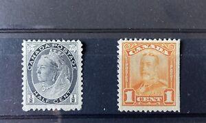 2 Briefmarken Kanada Klassik, MH *, hoher KW