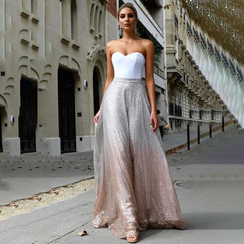 Damen Pailletten Brautjunfer Abendkleid Partykleider Bandeau Elegant Maxikleid