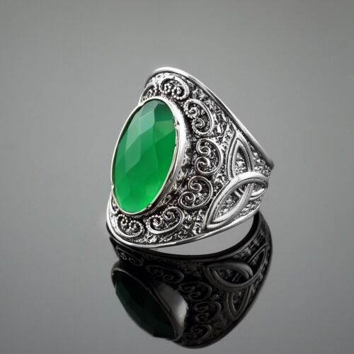 Fine 925 Sterling Silver Green Agate Gem Silver Celtic Ring Made in USA