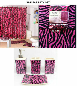 Complete bath accessory set pink zebra printed bathroom for Zebra print and red bathroom ideas