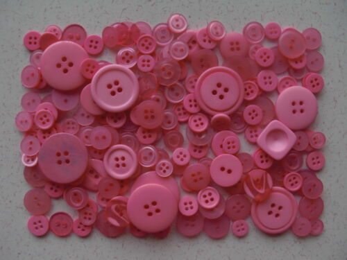 Pink buttons mixed sizes 100 grams
