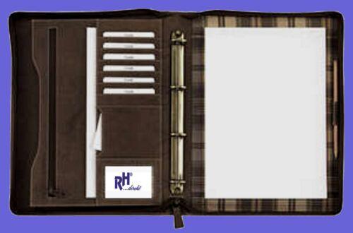 205 Ringbuch-Schreibmappe A4 mit Reißverschluss Vintage Rind-Leder Sonderpreis