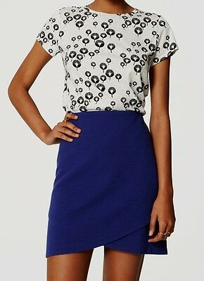 Ann Taylor LOFT Pleat Front Mid-Length Skirt Size Large X-Large NWT Blue Color