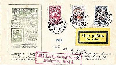 Litauen Lietuva 1926 Nr 243-245 Sc 37-39 Luftpost-brief VerrüCkter Preis satz