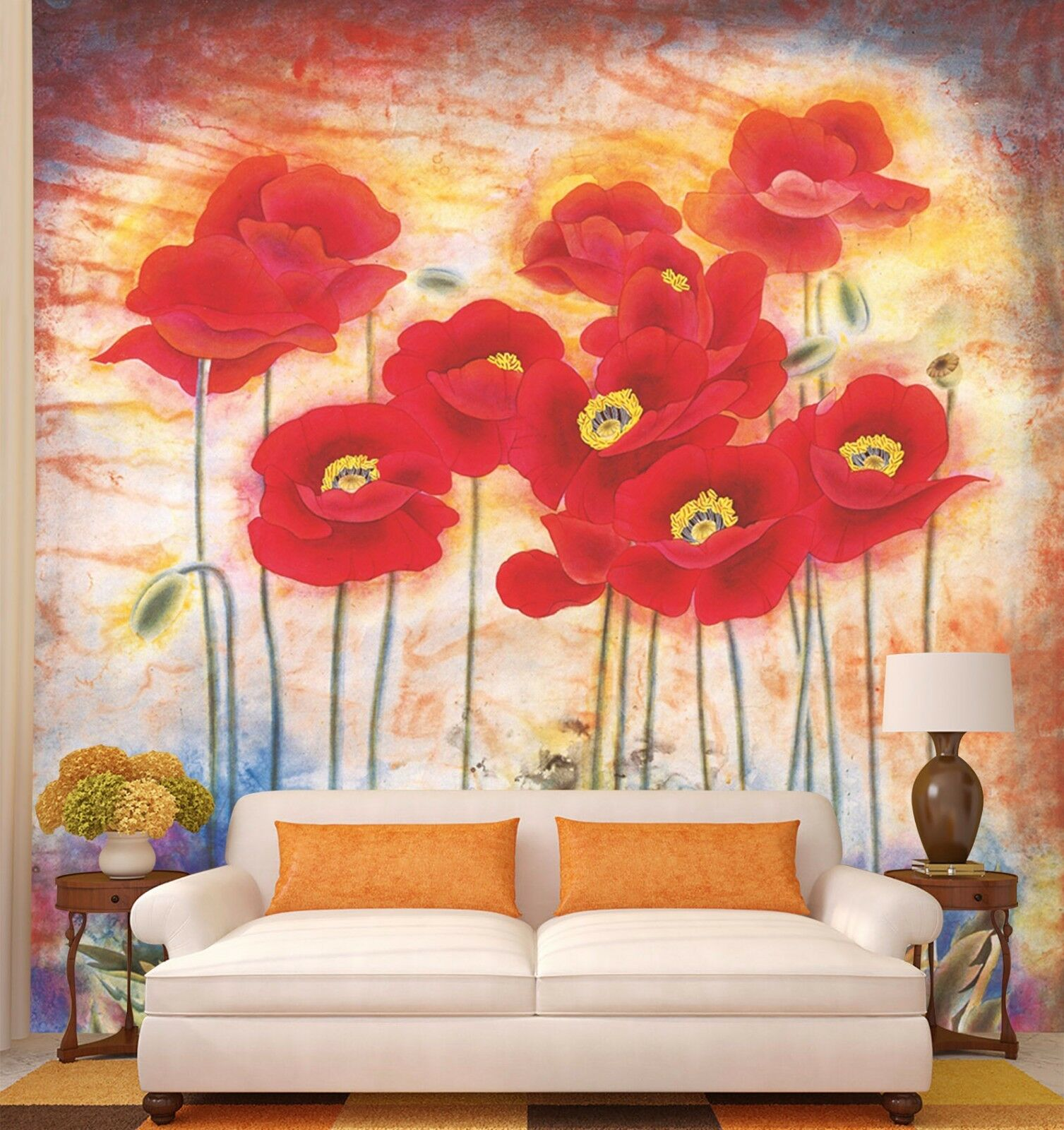 3D Many rot flowers 090 Wall Paper Print Wall Decal Deco Indoor Wall Murals