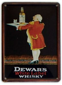 DEWARS-WHITE-LABEL-WHISKY-Small-Metal-Tin-Pub-Sign