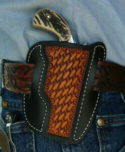 Leather-Holster-NAA-Ranger-II-Sidewinder-2-1-2-034-North-American-Ruff-039-s-Black-Tan