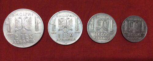 SET OF 4 ALBANIA COINS 2 LEK 1 LEK 0.50 0.20 LEK DURING ITALIAN OCCUPATION WW2