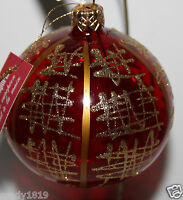 Pier 1 Imports 3 Clear Red Glass Christmas Ornament W/ Scribble Detail