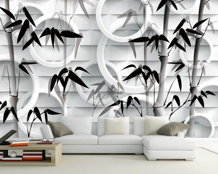 Papel Pintado Pintado Pintado Mural De Vellón Anillo De Bambú Negro 2 Paisaje Fondo De Pantalla d61111