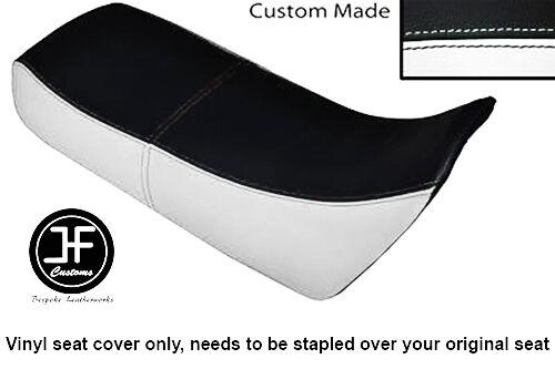 WHITE AND BLACK VINYL CUSTOM FOR HONDA XRV 750 AFRICA TWIN 96-03 DUAL SEAT COVER