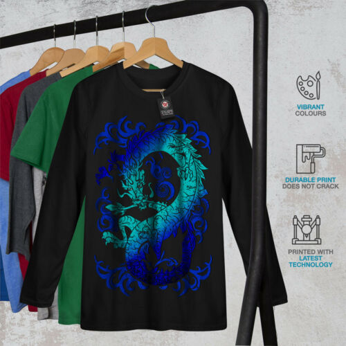 Myth Graphic Design Wellcoda Fantasy Dragon Mystical Mens Long Sleeve T-shirt