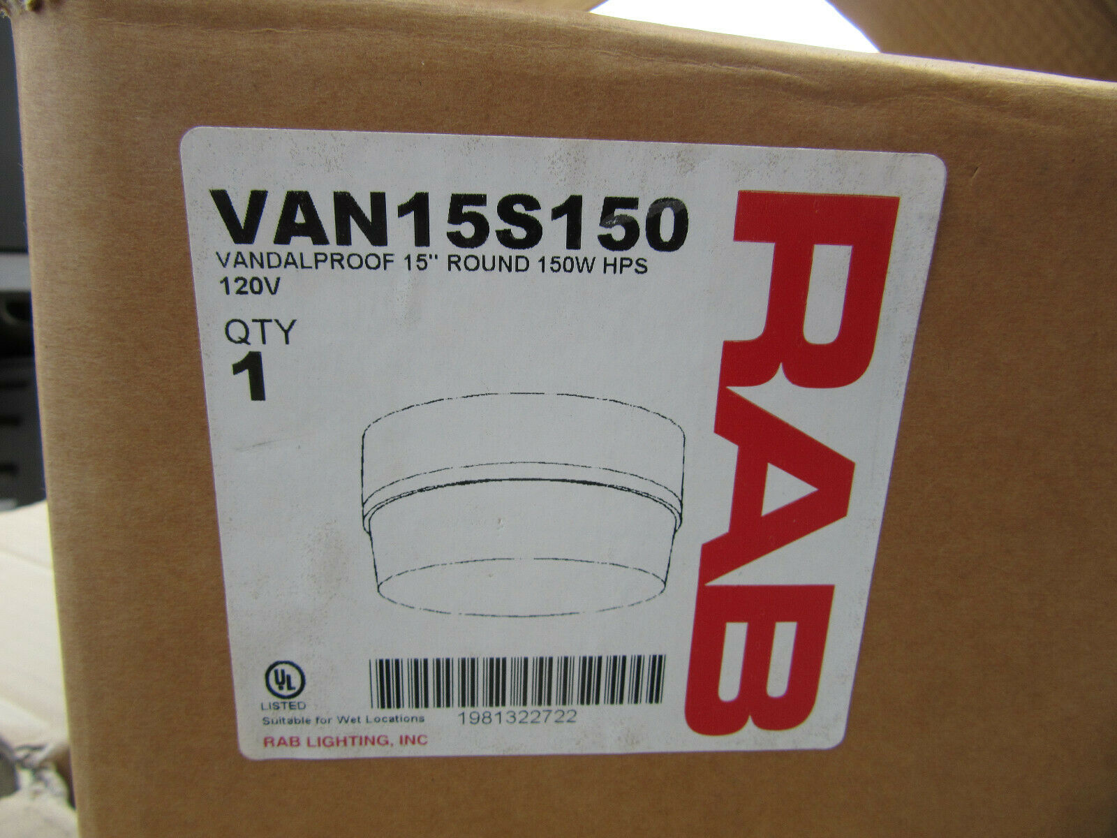 RAB VAN15S150 Vandalproof 15  Round 150W HPS NEW    in Factory Box Free Shipping