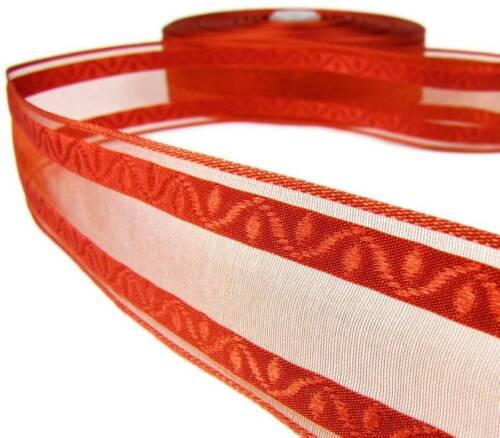 "5 Yds Autumn Fall Pumpkin Spice Orange Semi Sheer Wired Ribbon 1 1//2/""W"