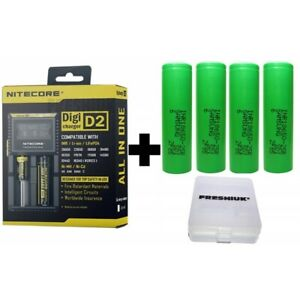 Nitecore NEW i2 Intellicharger// 2x Samsung 25R 18650 2500mAh Battery// Green Case