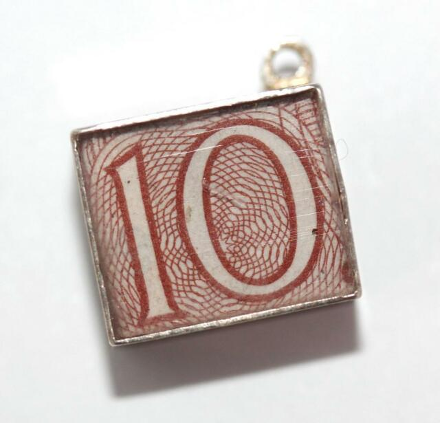 Vintage Sterling Silver Bracelet Charm Emergency Mad Money English 10 Shillings