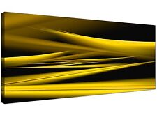 Yellow and Black Abstract Canvas Wall Art (120cm x 50cm)