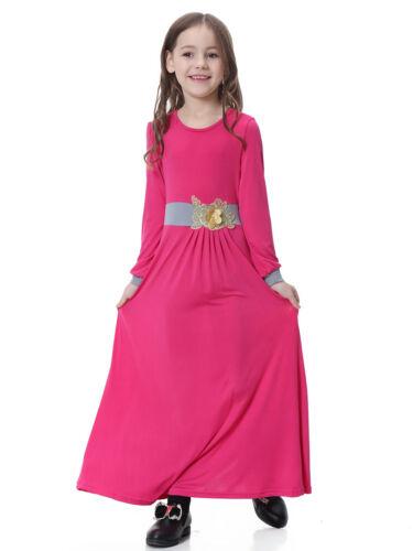 Muslim Kids Girls Abaya Long Dress Burka Arab Child Prayer Maxi Kaftan Robe New