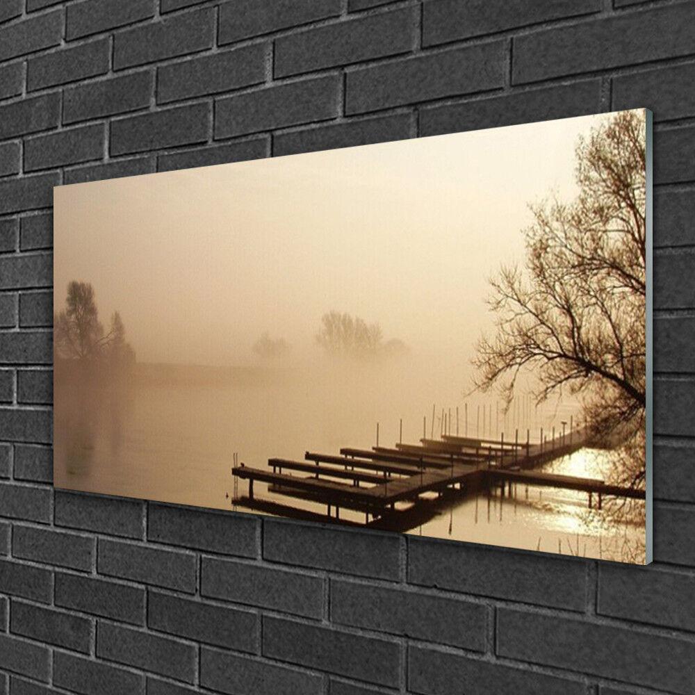 Image sur verre Tableau Impression 100x50 Paysage Pont Eau Brouillard