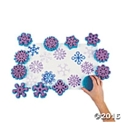Set of 12  SNOWFLAKE Foam Stamps School Camp Craft Pre-school Party Home School