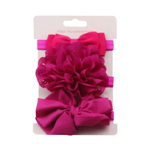 3pcs//Set Newborn Headband Elastic Floral Baby Girls Hairband Bowknot Turban Gold