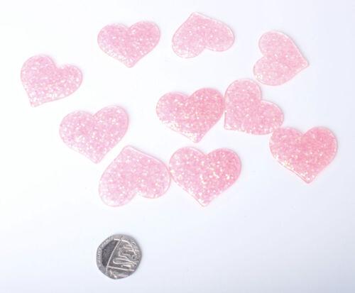 10 x Large 38mm Glitter Resin Shape Heart Star Glitter Embellishment Sparkle Gem