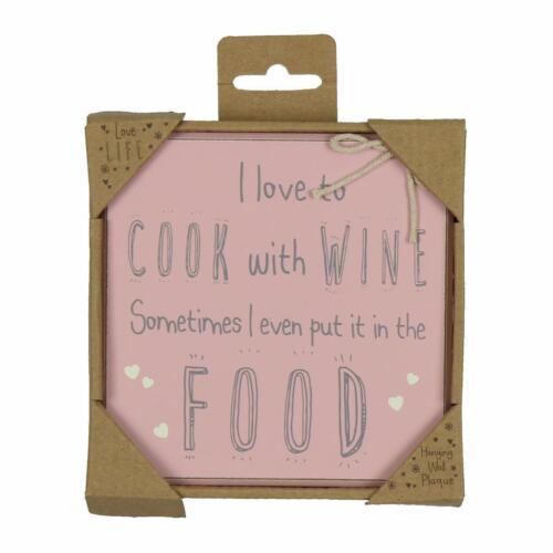 Cadeau de nouveauté plaque-design vintage-j/' aime à cuisiner avec 61148 vin