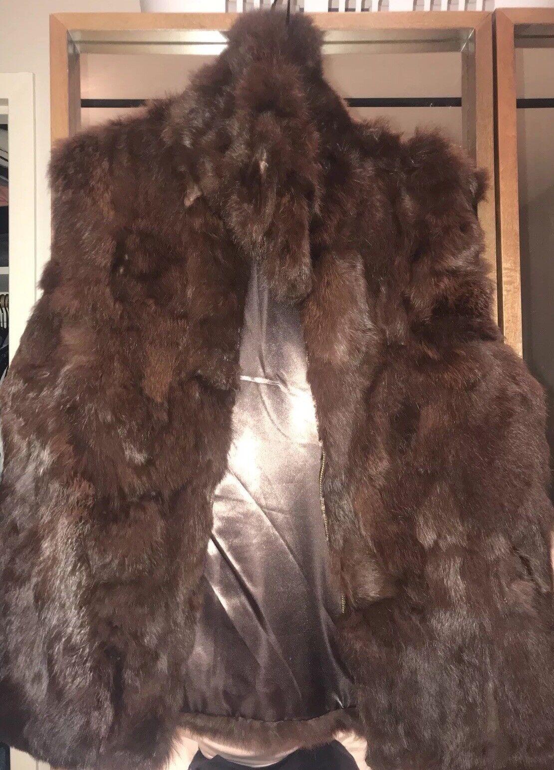 Bloomingdales Surell Brown Rabbit Fur Vest Size S M