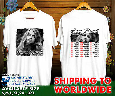 """LEON RUSSELL /""""LEGENDS NEVER DIE/"""" MUSIC WHITE T-SHIRT"""