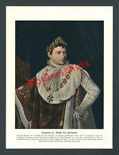 Farblitho Jacques-Louis David imperatore Napoleone I. incoronazione ornat STEMMA PARIGI 1890