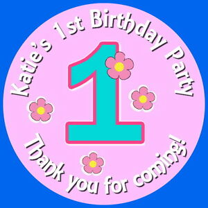 PERSONALISED GLOSSY 1ST BIRTHDAY GIRL  PARTY BAG,SWEET CONE STICKERS