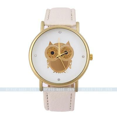 Fashion White Women Lady Owl Bird Leather Band Analog Quartz Sport Wrist Watch