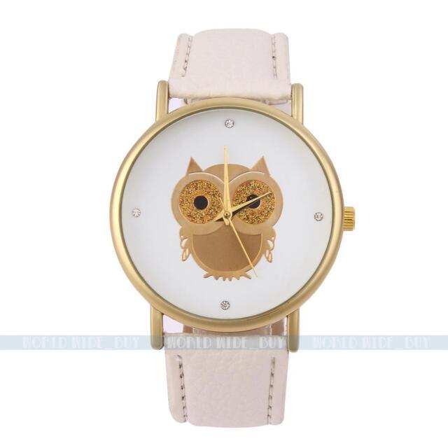 Fashion White Women Lady Owl Bird Leather Band Analog Quartz Sport Wrist Watch