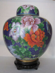 12-034-Chinese-Beijing-Cloisonne-Cremation-Urn-China-Style-Spring-Bouquet-Blue-New