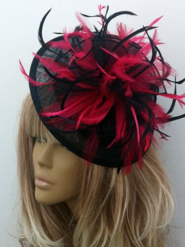 Bespoke BlackFuchsia Pink Hat Weddings Mother of The BrideGroom Races Events
