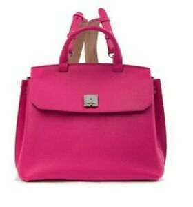 6e8615562 Image is loading NWT-Authentic-MCM-Bright-Pink-Leather-Backpack-and-