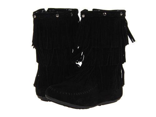 Kensie KG425 filles hiver en daim à franges style mocassins pointure 10-4 Noir