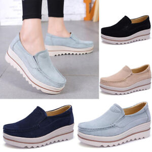 Women Flats Shoes Loafers PU Leather Hollow Out Slip On Creepers