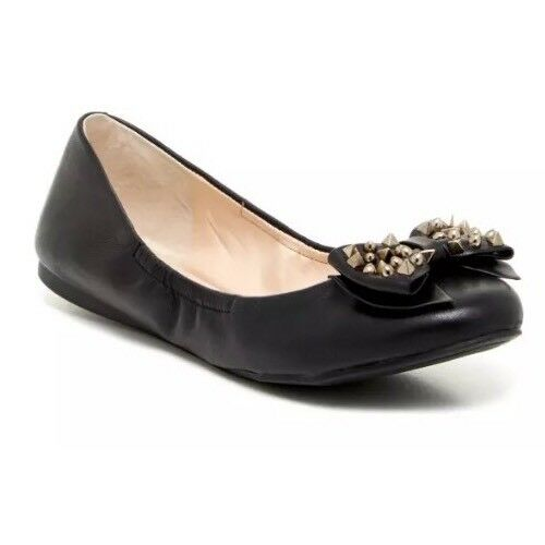 Vince Camuto Evy Casual Leather Flat Black Women Sz 7.5 M 6006