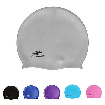 Waterproof Flexible Silicone Swimming Cap Bathing Hat Unisex Adult Elasticity US