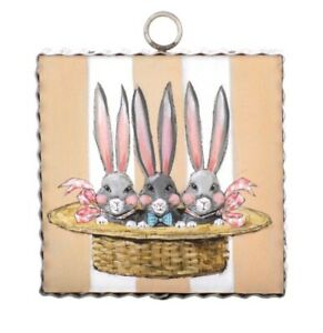 Round Top Collection NWT - Mini Bunny Triplets Print - Metal & Wood