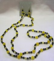 30 Hand Knotted Yellow Jade Gemstone Beaded Necklace & Earring Set